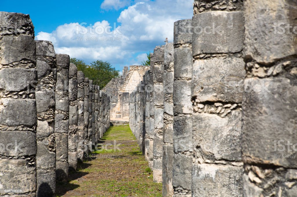 Group of the One Thousand columns. Kukulcan El Castillo stock photo