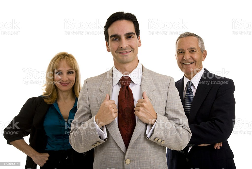 Group of three business people white background royalty-free stock photo