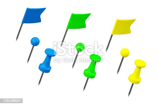 A group of thumbtack straight pins of different shapes isolated on white background for further composition or derivative work.