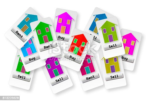 istock Group of tickets with several options: buy, sell or rent your home; make your choice!