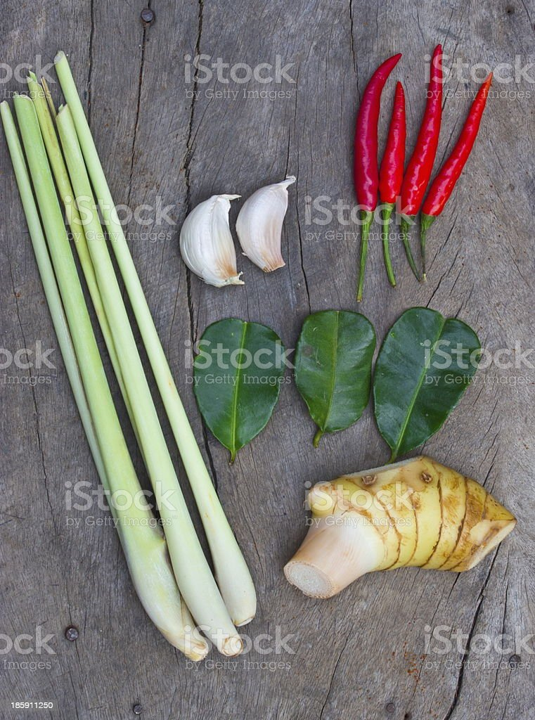 Group of tom yum (Thai food) royalty-free stock photo