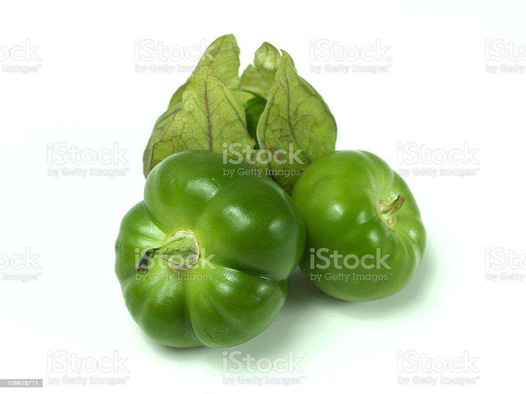 Group of Tomatillos on White stock photo
