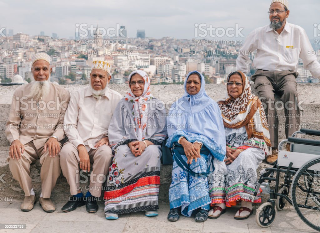 Group of tourist people taking pictures in Istanbul stock photo
