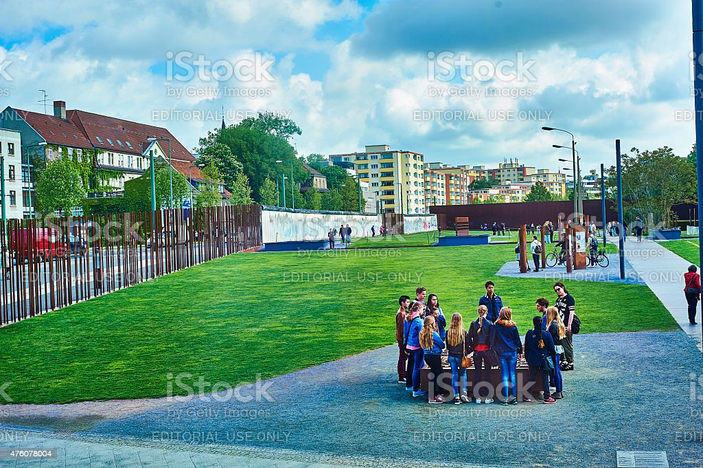 Group of tourists in Berlin stock photo
