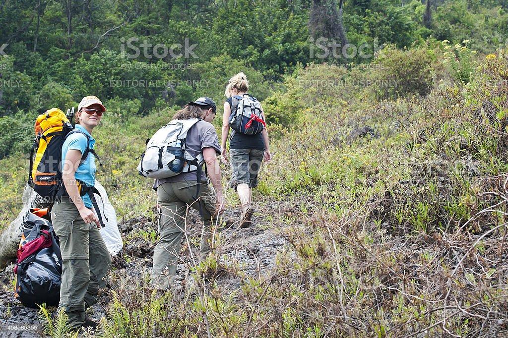 Group of tourists is climbing Mount Nyiragongo volcano, Congo royalty-free stock photo