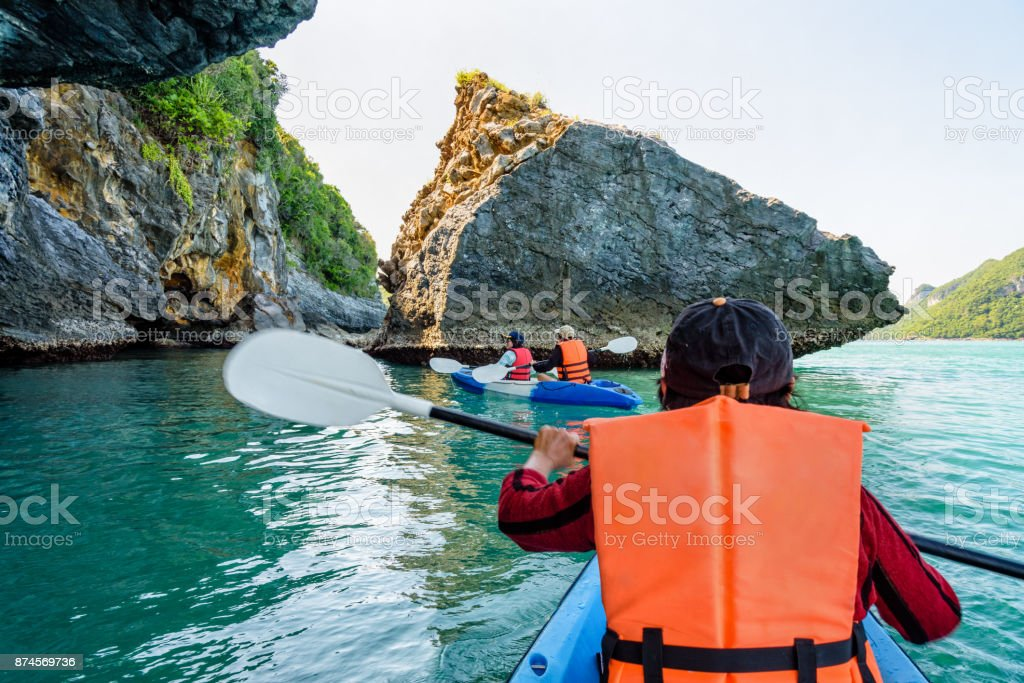 Group of tourists on a kayak stock photo