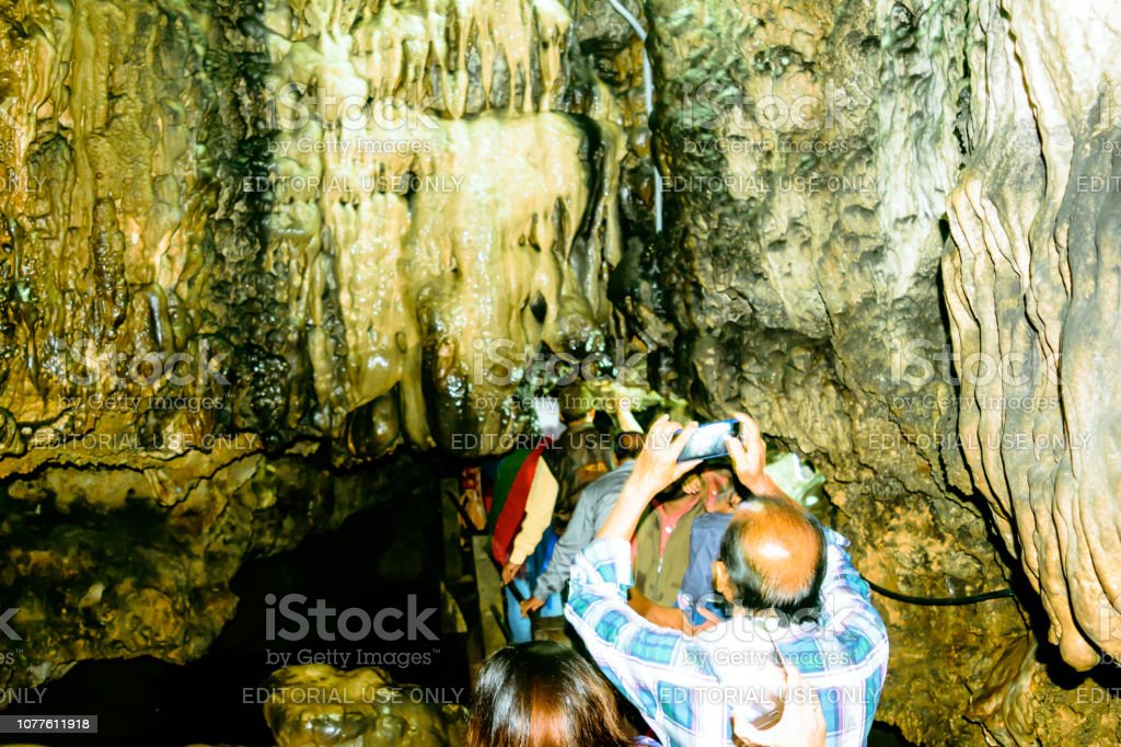 Group Of Tourists Visiting Mawsmai Cave Narrow Rugged
