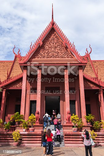 Phnom Penh, Cambodia - SEPTEMBER 22, 2013: A group of tourists visiting the National Museum of Cambodia. Phnom Penh City.