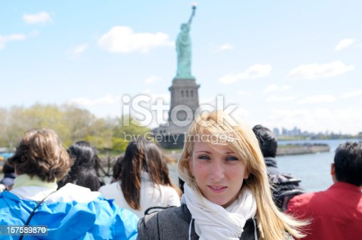istock Group Of Tourists,Statue of Liberty Ferry,NYC. 157589870