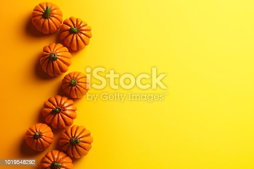 A random grouping of small toy pumpkins on a yellow background.