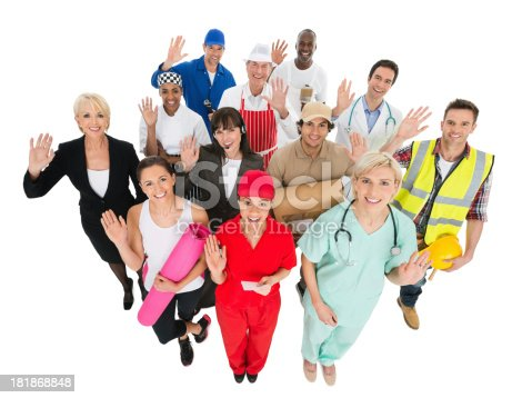 istock Group of Trades People Waving - Elevated View 181868848