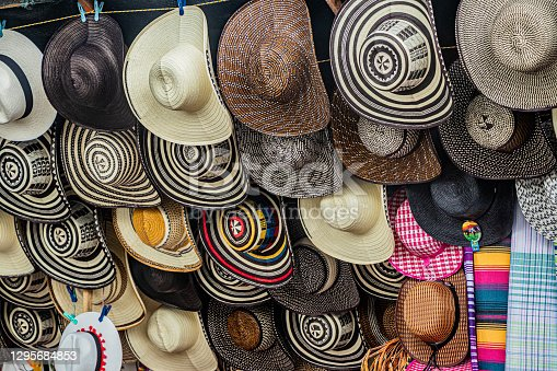 Traditional hats and sombreros sale on the street