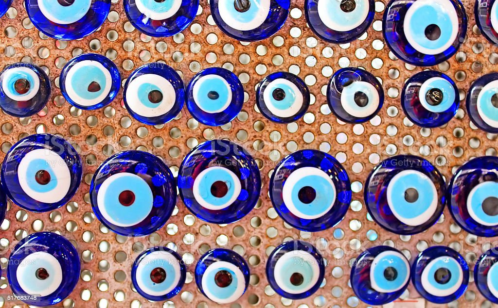 Group of traditional Turkish Amulet Evil Eye stock photo