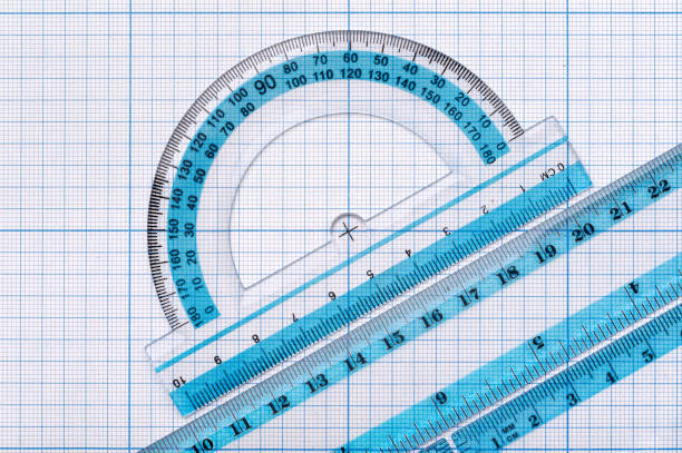 Group of transparent plastic rulers stock photo