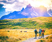 Torres del Paine, Chile - 21 february 2015:group of travelers with backpacks walk along a trail towards to  glacier with snow-capped peaks in the background