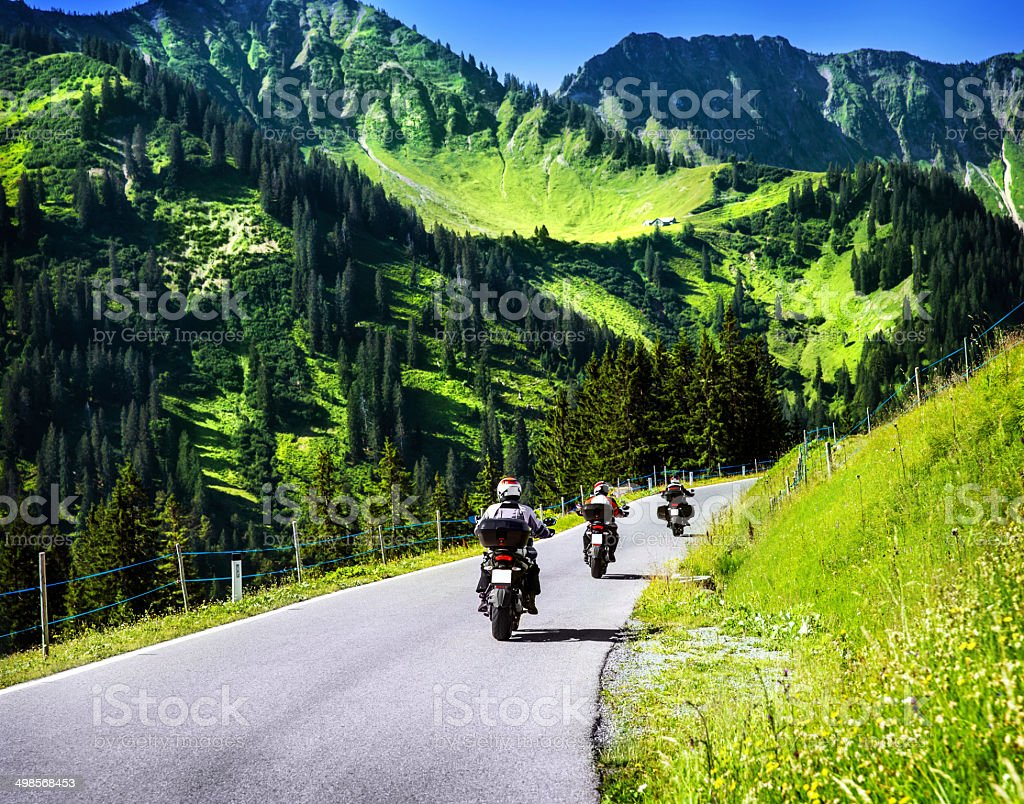 Group of travelling bikers stock photo