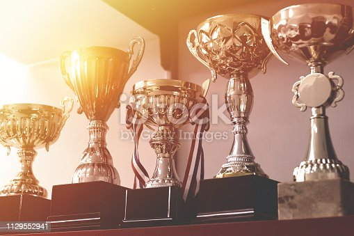 Group of trophies on shelf.
