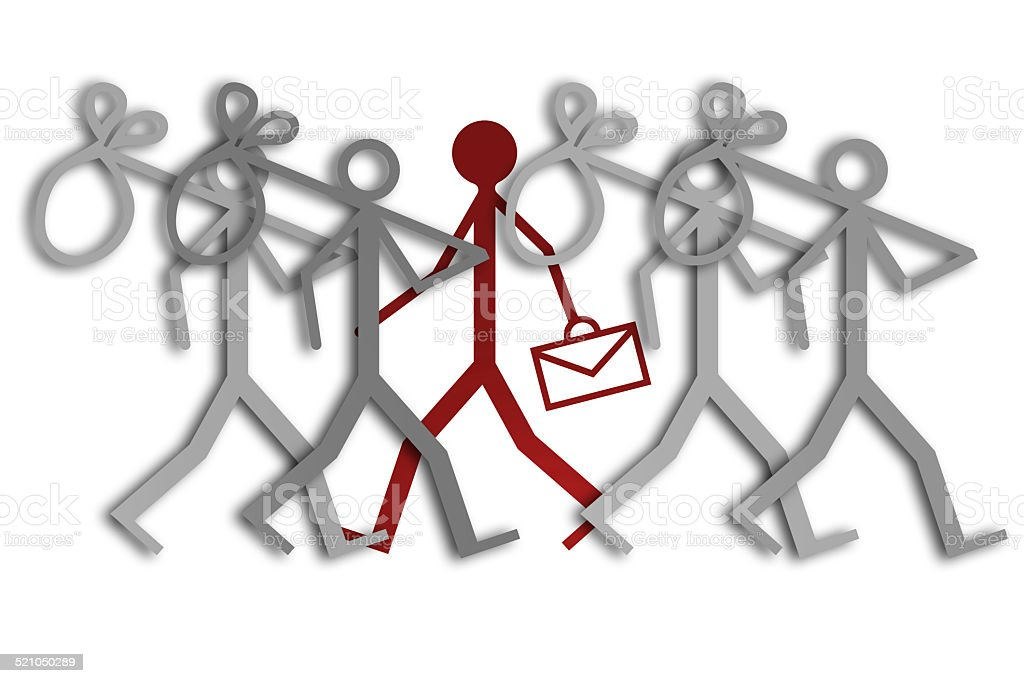 Group of unemployed looking for work - concept image stock photo