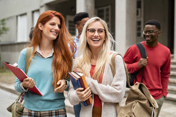 Group of university student in campus stock photo