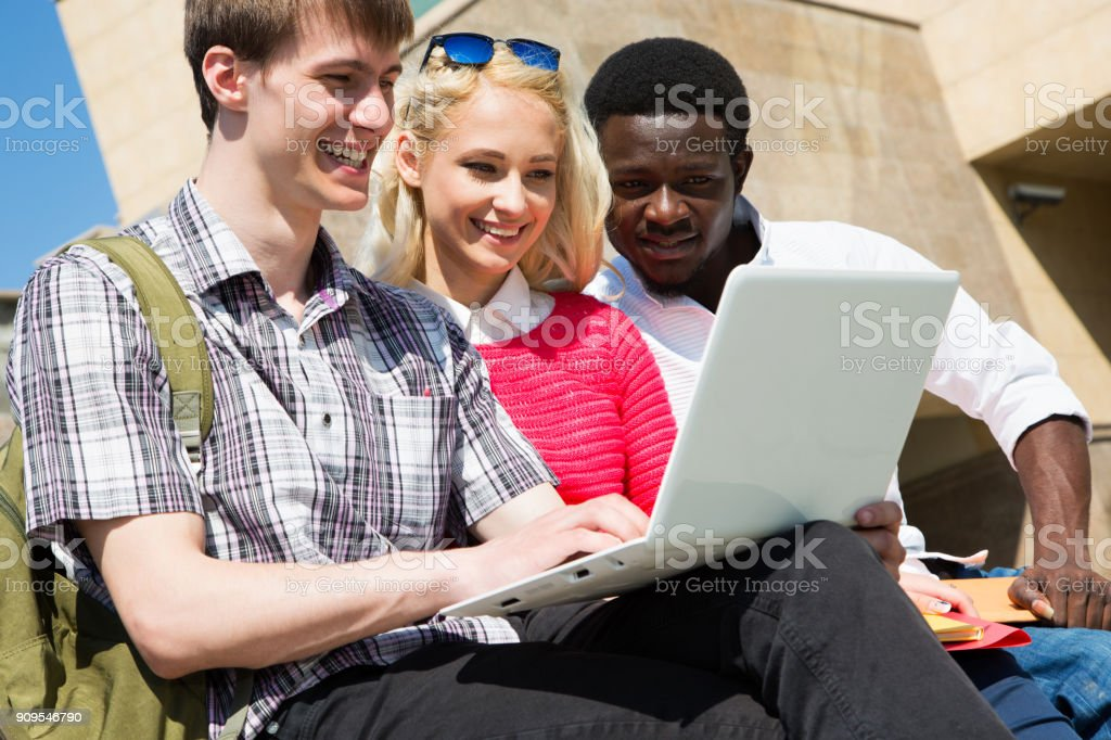 Group of university students studying stock photo