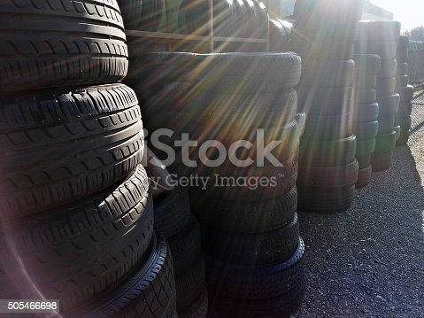 496485590istockphoto Group of used tires 505466698