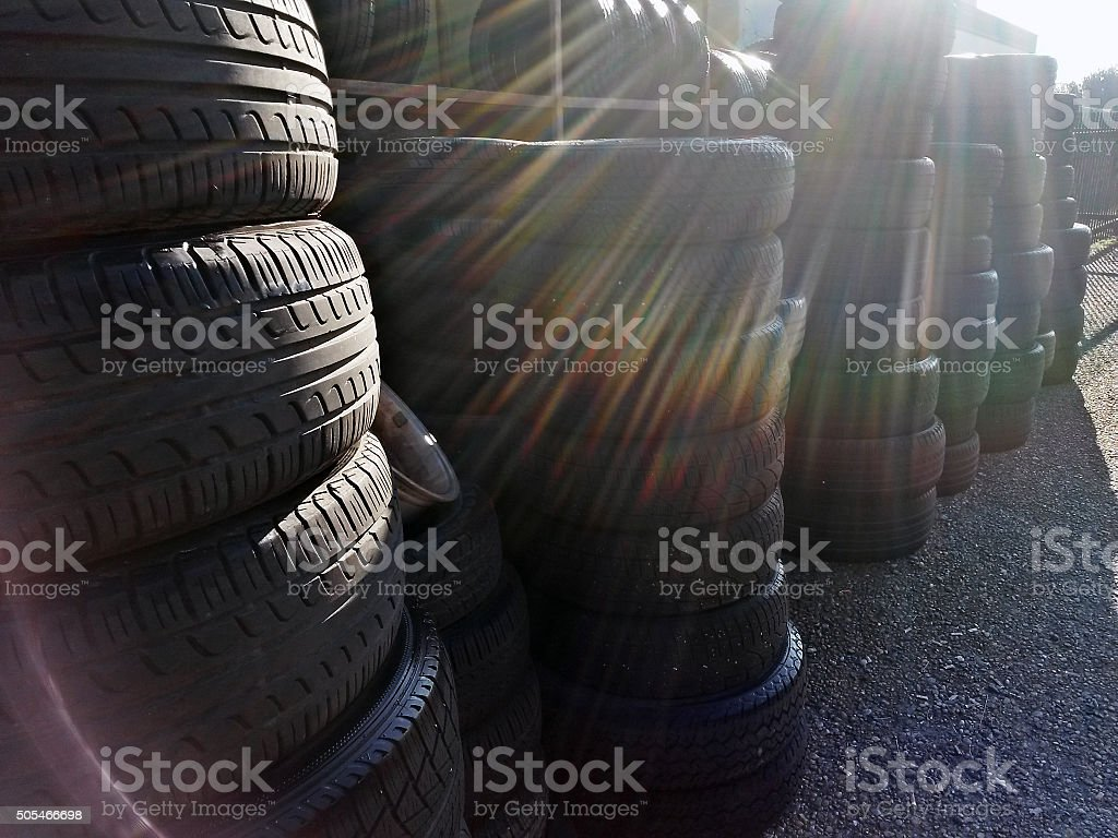 Group of used tires stock photo