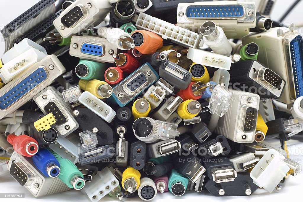 A group of various types of device cords and pin connectors royalty-free stock photo