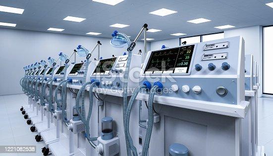 3d rendering group of ventilator machines in hospital