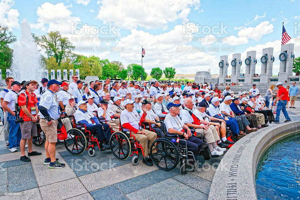 Group of Veterans at Pillars on National World War Memorial stock photo