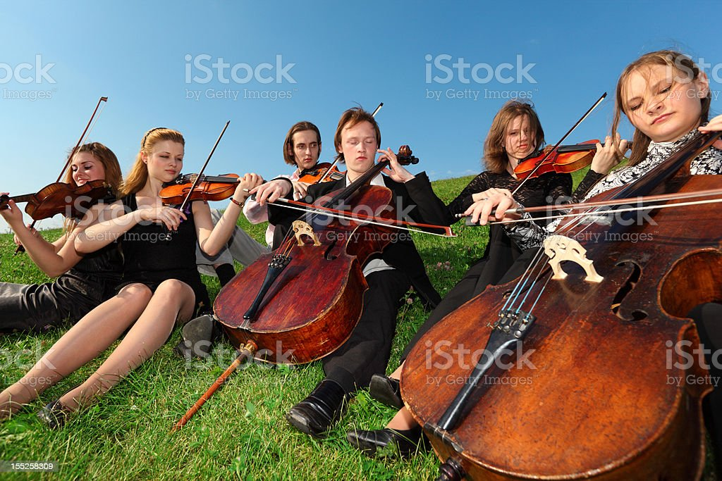 Group of violinists sit and play on grass royalty-free stock photo