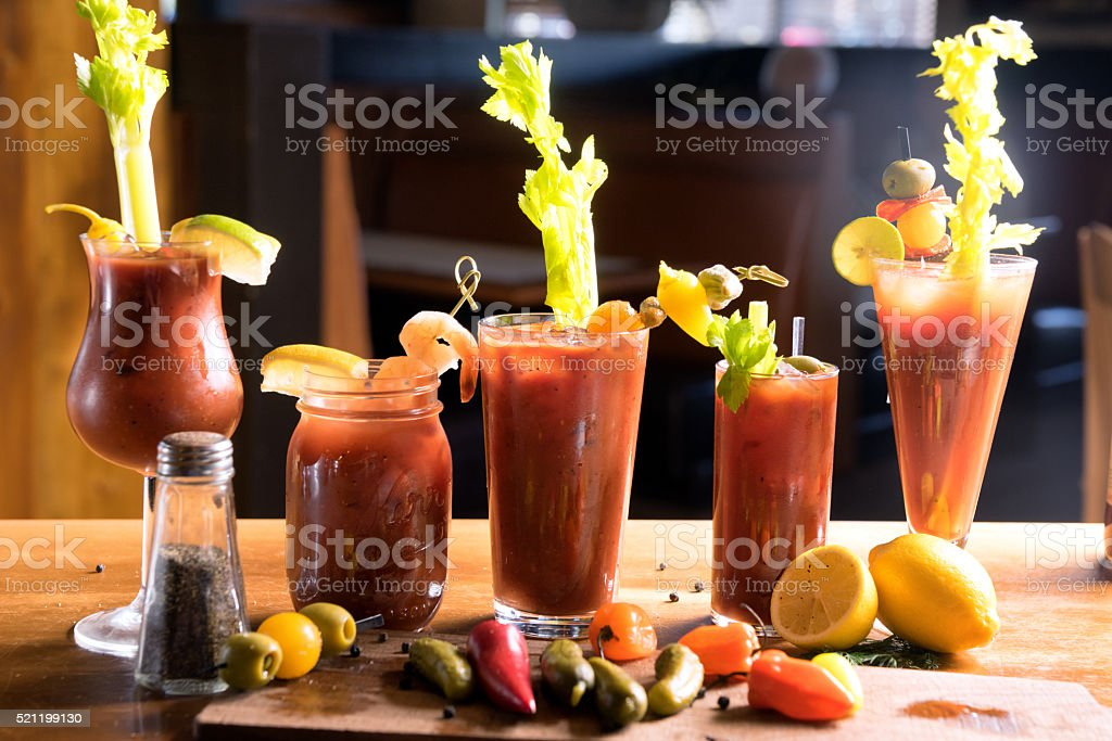 Group of Vodka Bloody Marys stock photo