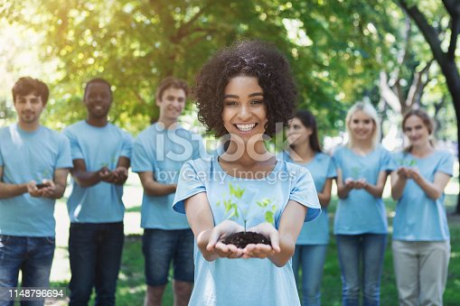 istock Group of volunteer with trees for growing 1148796694