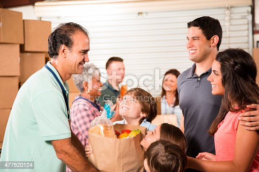 istock Group of volunteers provide groceries donations to needy families. Charity. 477520124