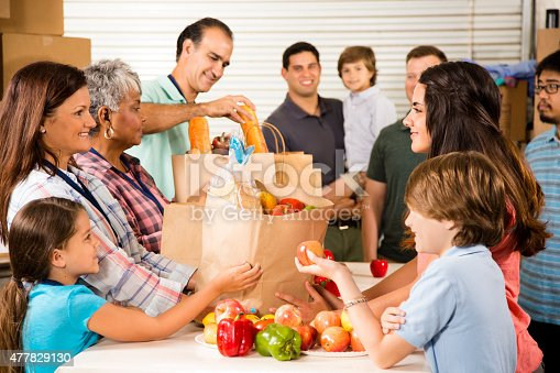 istock Group of volunteers provide groceries donations to needy families. Charity. 477829130