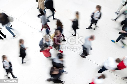 Large group of motion blurred, walking people, elevated view