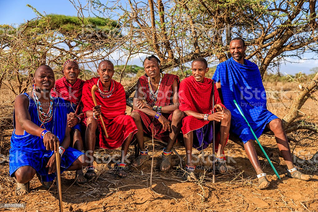 Group of warriors from Maasai tribe, Kenya, Africa stock photo