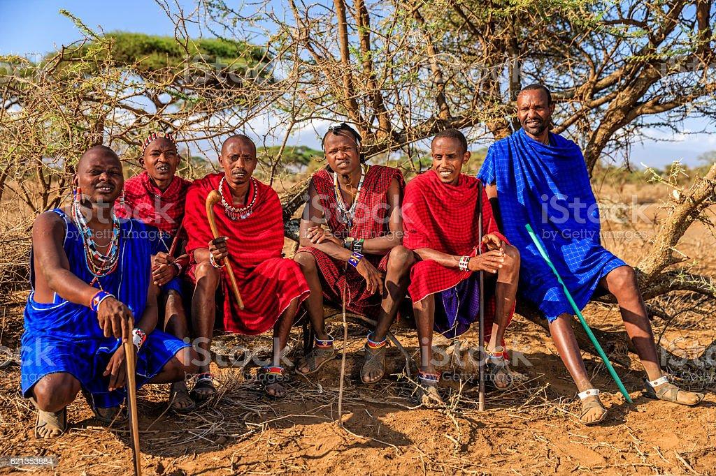 Group of warriors from Maasai tribe, Kenya, Africa – Foto