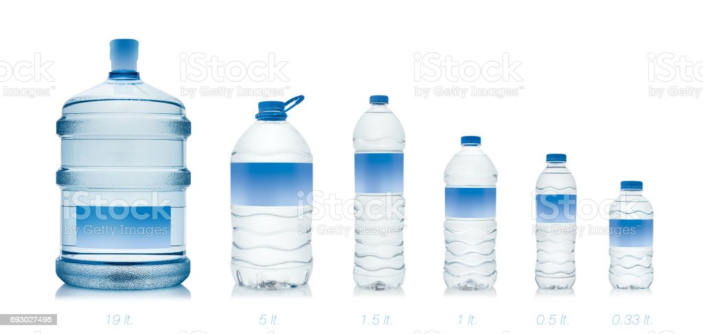 Group of water bottles with blank label stock photo