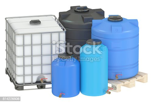 group of water tanks isolated on white background