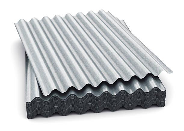 group of wave shaped zinc-plated metal sheets - dachformen stock-fotos und bilder