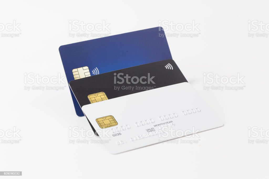 Group of white, black and blue credit cards stock photo