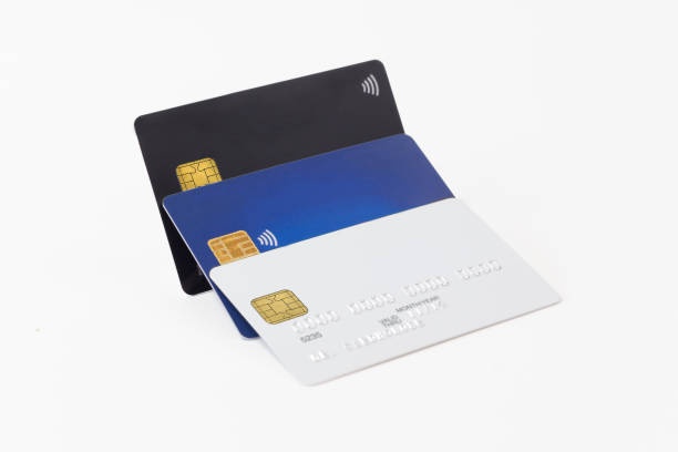 Group of white, blue and black credit cards stock photo