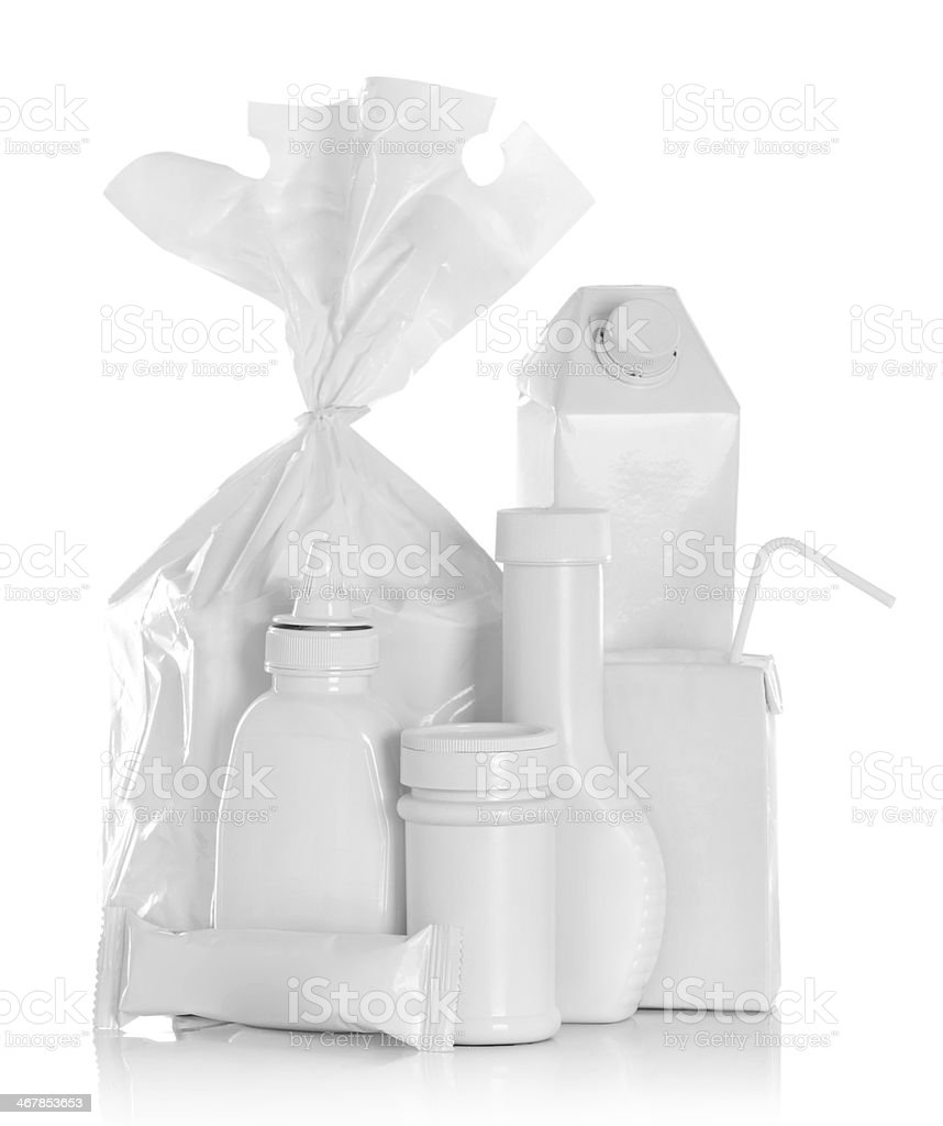 Group of white food product stock photo