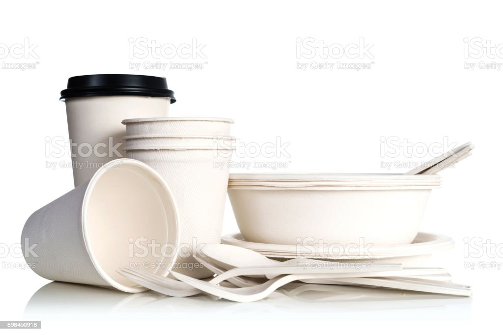 Group of white natural paper cups isolated on white background stock photo