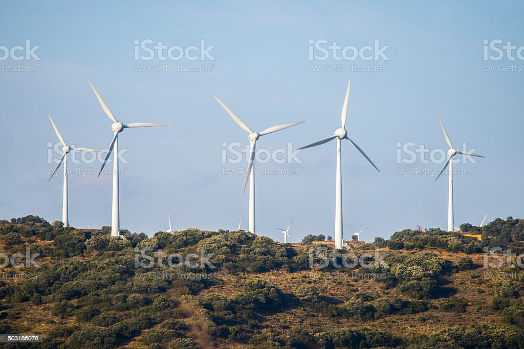 Group of windmills stock photo
