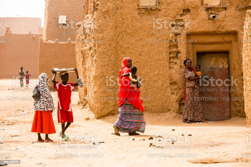 Group of woman in the streets of Agadez stock photo