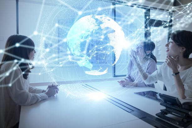 group of woman using holographic interface. - business woman hologram imagens e fotografias de stock