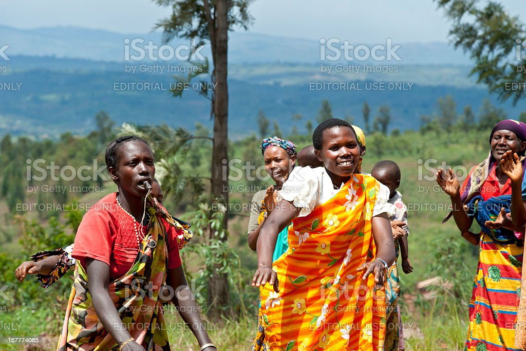 Group of women are performing a traditional dance, Burundi, Africa stock photo
