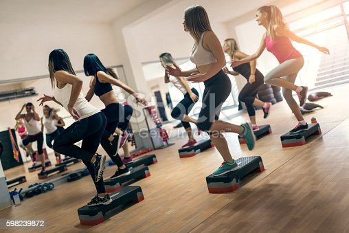 istock Group of Women at Aerobics Class Exercising In Gym 598239872