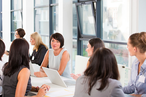 Group Of Women At Job Fair Stock Photo - Download Image Now